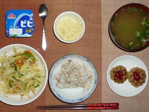 胚芽押麦入り五穀米,プチバーグ×2,野菜炒め,マッシュポテト,ヨーグルト