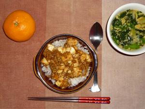 麻婆豆腐丼,ほうれん草と玉子の中華スープ,みかん