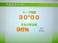 Wii Fit Plus 6月29日のバランス年齢 34歳 片足バランステスト結果