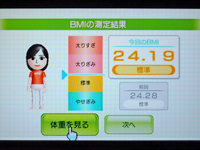 Wii フィットプラス BMI 24.19