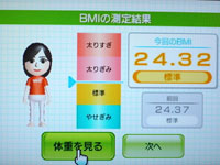 Wii Fit Plus BMI 24.32