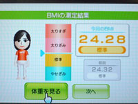 Wii Fit Plus BMI 24.28