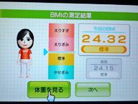 Wii Fit Plus 3月15日のBMIは24.32