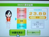 Wii Fit Plus 3月18日のBMI 23.89
