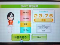 Wii Fit Plus 3月22日のBMI 23.76