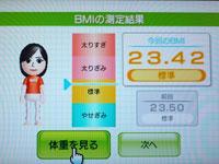 Wii Fit Plus 3月31日のBMI 23.42