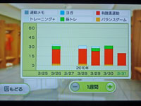 Wii Fit Plus 3月31日のトレーニングの種類と運動時間
