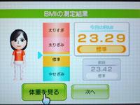 Wii Fit Plus 4月1日のBMI 23.29