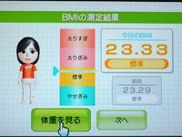 Wii Fit Plus 4月2日のBMI 23.33