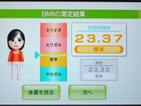 Wii Fit Plus 4月3日のBMI 23.37