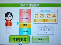 Wii Fit Plus 4月8日のBMI 23.24