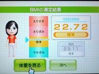 Wii Fit Plus 4月11日のBMI 22.72