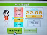Wii Fit Plus 4月16日のBMI 22.98