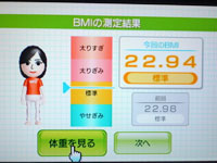 Wii Fit Plus 4月17日のBMI 22.94