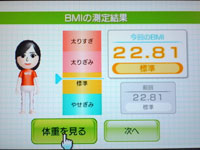 Wii Fit Plus 4月19日のBMI 22.81