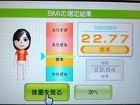 Wii Fit Plus 4月27日のBMI 22.77