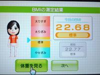 Wii Fit Plus 4月日のBMI 22.68