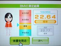 Wii Fit Plus 4月30日のBMI 22.64