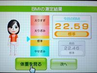 Wii Fit Plus 5月日のBMI 22.59
