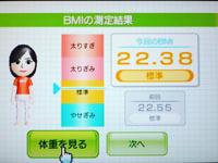 Wii Fit Plus 5月日のBMI 22.38