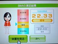 Wii Fit Plus 5月15日のBMI 22.33