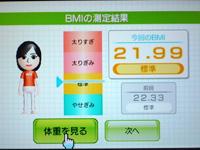 Wii Fit Plus 5月18日のBMI 21.99