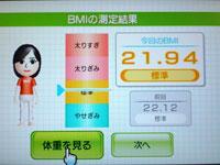 Wii Fit Plus 5月22日のBMI 21.94