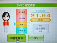 Wii Fit Plus 5月31日のBMI 21.94