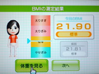 Wii Fit Plus 6月9日のBMI 21.90