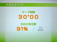 Wii Fit Plus 6月13日のバランス年齢 20歳 片足バランステスト結果