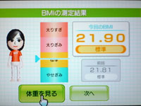 Wii Fit Plus 6月14日のBMI 21.90