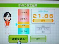 Wii Fit Plus 6月15日のBMI 21.86