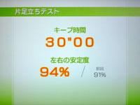 Wii Fit Plus 6月20日のバランス年齢 25歳 片足バランステスト結果