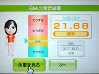 Wii Fit Plus 6月22日のBMI 21.68