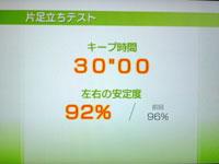 Wii Fit Plus 7月5日のバランス年齢 21歳 片足バランステスト結果