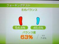Wii Fit Plus 7月9日のバランス年齢 33歳 ウォーキングテスト結果