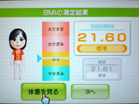 Wii Fit Plus 7月10日のBMI 21.60