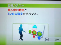 Wii Fit Plus 7月11日のバランス年齢 28歳 記憶力テスト説明1