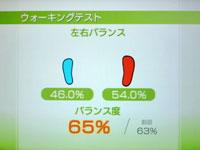 Wii Fit Plus 7月13日のバランス年齢 25歳 ウォーキングテスト結果