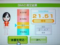 Wii Fit Plus 7月18日のBMI 21.51