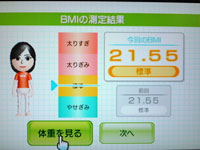 Wii Fit Plus 7月22日のBMI 21.55