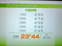 Wii Fit Plus 7月24日のバランス年齢 24歳 デュアルバランス結果