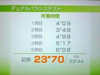 Wii Fit Plus 7月26日のバランス年齢 25歳 デュアルバランステスト結果