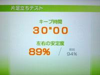 Wii Fit Plus 7月26日のバランス年齢 25歳 片足バランステスト結果