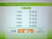 Wii Fit Plus 7月30日のバランス年齢 29歳 デュアルバランステスト結果