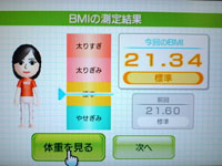 Wii Fit Plus 7月30日のBMI 21.34