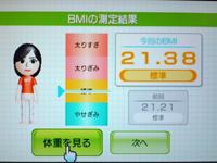 Wii Fit Plus 8月1日のBMI 21.38