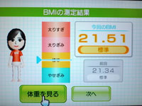 Wii Fit Plus 8月4日のBMI 21.51
