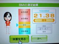 Wii Fit Plus 8月5日のBMI 21.38