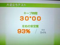 Wii Fit Plus 8月5日のバランス年齢 20歳 片足立ちテスト結果